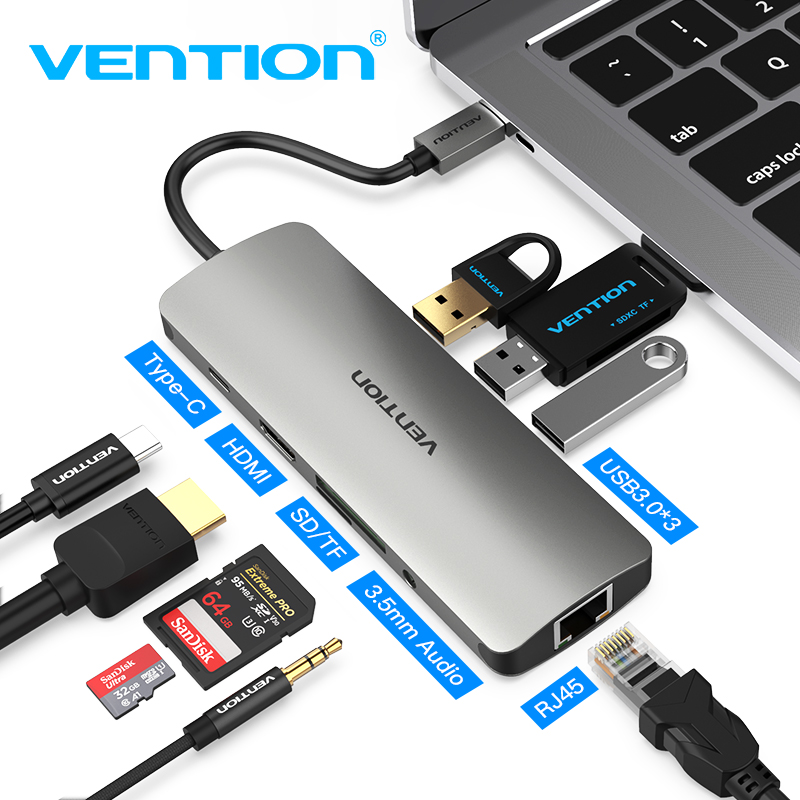 Details about 3 0 USB C Vention Thunderbolt Dock Hub Type Hdmi 0-C Hub Type  CTo HDMI